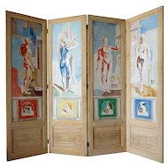 JACQUES CERIA DESPIERRE Painted Canvas Four-Panel Folding Screen and 1 Panel