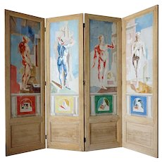 JACQUES CERIA DESPIERRE Painted Canvas Four-Panel Folding Screen plus 1 Panel