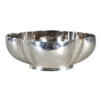 Small Vintage Mexican William Spratling Taxco Hammered Sterling Silver Lobed Bowl