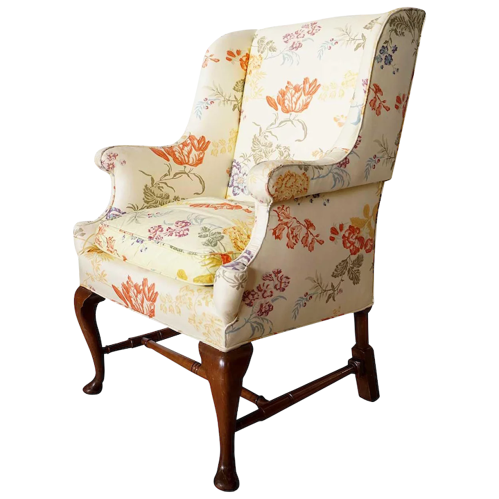 Remarkable English Queen Anne Style Upholstered Wingback Cottage Armchair Home Interior And Landscaping Oversignezvosmurscom