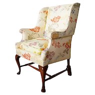 English Queen Anne Style Upholstered Wingback Cottage Armchair