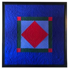 Framed American Amish MARY GLICK Lancaster County Wool Diamond Center Mini Quilt
