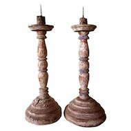 Pair of Large Indo-Portuguese Painted Teak Candlesticks