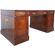 English Chippendale Style Mahogany Veneer Leather Top Partner's Desk