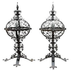 Pair of Large American Wrought Iron Gate Post Finials/Lanterns