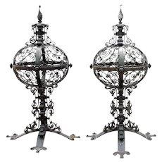 Pair of Large American Wrought Iron Gate Post Finials/Lanterns