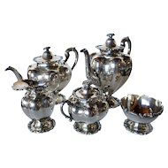 Vintage Five-Piece Mexican SLC Sterling Silver Tea Set