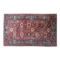 Vintage Ghazneh Wool Handmade Red and Blue Rug