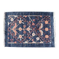 Small Blue Floral Rug with Fringe