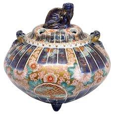 Japanese Meiji Porcelain Imari Ram Lid Incense Burner or Censer (Koro)