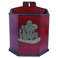Chinese Qing Red Painted Teak Wall Caddy Box