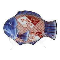 Japanese Meiji Porcelain Imari Fish-Form Plate