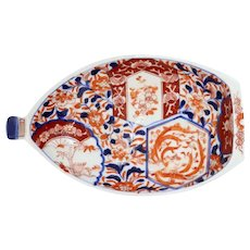 Small Japanese Meiji Porcelain Imari Boat Shape Serving Dish