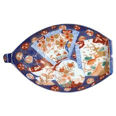 Japanese Meiji Porcelain Imari Boat Serving Dish Platter