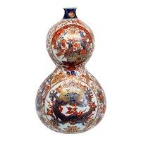 Large Japanese Meiji Porcelain Imari Double Gourd Dragon Bottle Vase