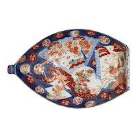 Japanese Meiji Porcelain Imari Boat Form Serving Dish Platter