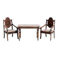 Russian Folk Art Painted Wood Child's Table and Chairs Three-Piece Suite
