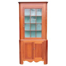 Large American Chippendale Cherry and Pine Painted, Glazed Door Corner Cabinet
