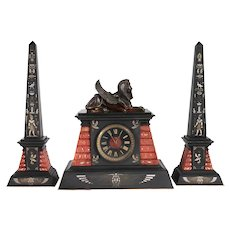 French Japy Freres Egyptian Revival Bronze, Marble and Slate Mantel Clock Garniture