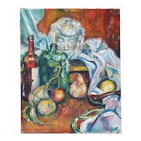 Vintage Oil on Canvas Painting, Still Life with Fruit