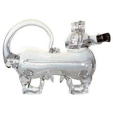Danish Holmegaard Glassworks Glass Novelty Dog Fyldehund Decanter