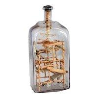 Rare Swedish Folk Art Whimsey Bottle with Miniature Loom and Dolls