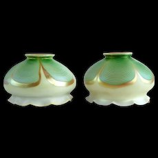 Pair American Green Pulled Feather Art Glass Shades