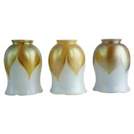 Set of Three American Gold Feather Art Glass Shades