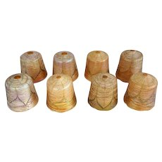 Set of Eight American Durand or Quezal Glass Threaded Candle Lamp Shades