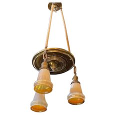 Set of Three American Steuben Gold Aurene Calcite Art Glass Lamps Shades