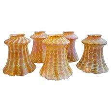 Set of Five American Quezal Art Nouveau Glass Snakeskin Lamp Shades