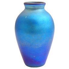 American Blue Iridescent Art Glass Vase Lamp Base