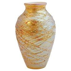 American Art Nouveau Gold Threaded Art Glass Table Lamp Stem Base