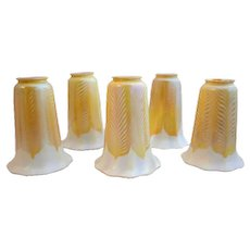 Set of Five American Quezal Iridescent Gold Feather Art Glass Lamp Shades