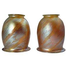 Pair of Austrian Loetz Art Nouveau Iridescent Feather Swirl Glass Lamp Shades