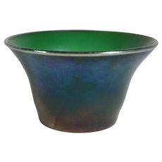 American Tiffany Studios Favrile Glass Iridescent Emerald Green Finger Bowl