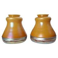 Rare Signed Pair of American Steuben Intarsia Applied Border Glass Lamp Shades