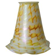 American Fostoria Art Glass Gold Zipper Pattern Lamp Shade