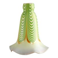 American Steuben Carder Period Glass Green Aurene Dragged Loop Lamp Shade