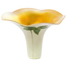 American Quezal Gold Iridescent Flower Form Glass Insert