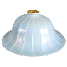 Large American Quezal White Ribbed Bell Glass Lamp Shade