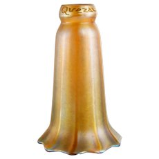 American Quezal Art Nouveau Gold Glass Lily Lamp Shade