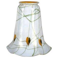 American Fostoria Iris Art Glass Gold Heart and Vine Lamp Shade