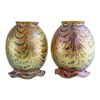 Pair of Large American Durand Egyptian Crackle Art Glass Lamp Shades