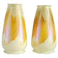 Pair of American Early Signed Quezal Art Glass Candle Shades