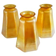 Set of Three American Tiffany Studios Gold Favrile Glass Lamp Shades