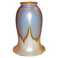 American Steuben Art Glass Blue Feather Lamp Shade