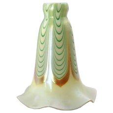 American Art Nouveau Glass Green Dragged Loop Lamp Shade