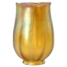 American Tiffany Studios Art Glass Gold Tulip Lamp Shade