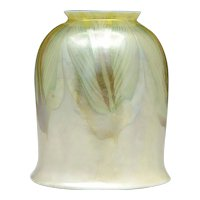 American Tiffany Studios Favrile Glass Iridescent Pulled Feather Lamp Shade